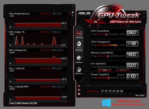 Captura de pantalla ASUS GPU Tweak para Windows 8.1