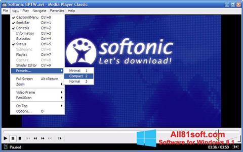 Captura de pantalla Media Player Classic para Windows 8.1