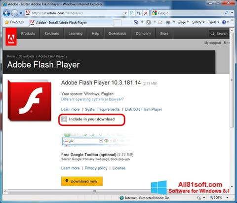 Captura de pantalla Adobe Flash Player para Windows 8.1
