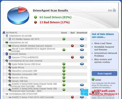 Captura de pantalla DriverAgent para Windows 8.1