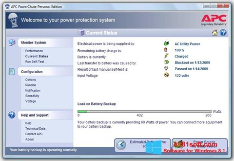 Captura de pantalla PowerChute Personal Edition para Windows 8.1