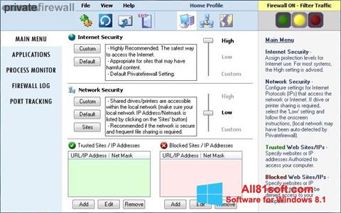 Captura de pantalla Privatefirewall para Windows 8.1