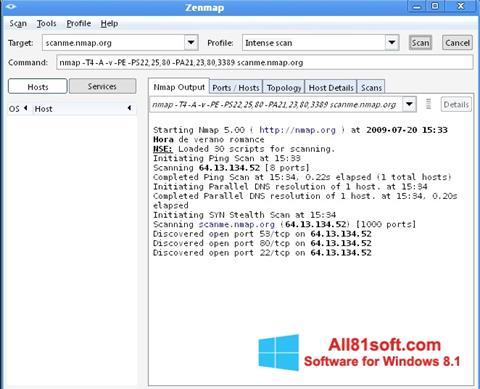 Captura de pantalla Nmap para Windows 8.1