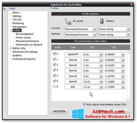 Captura de pantalla RMClock para Windows 8.1