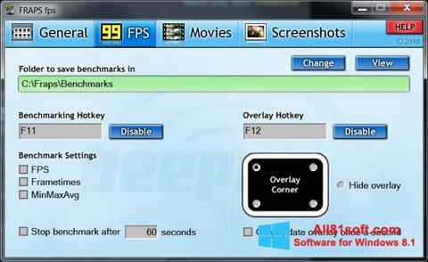 Captura de pantalla Fraps para Windows 8.1