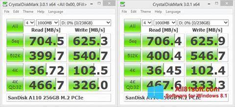 Captura de pantalla CrystalDiskMark para Windows 8.1