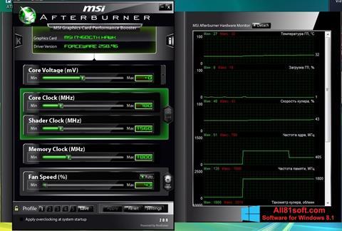Captura de pantalla MSI Afterburner para Windows 8.1
