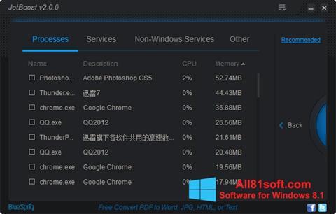 Captura de pantalla JetBoost para Windows 8.1