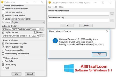 Captura de pantalla Universal Extractor para Windows 8.1