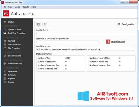 Captura de pantalla Avira Antivirus Pro para Windows 8.1
