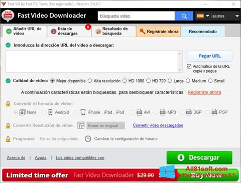 Captura de pantalla Fast Video Downloader para Windows 8.1