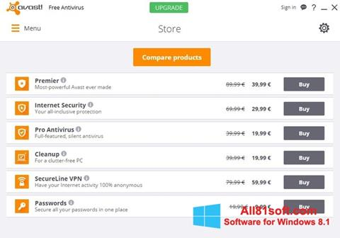 Captura de pantalla Avast Free Antivirus para Windows 8.1