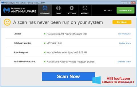 Captura de pantalla Malwarebytes Anti-Malware Free para Windows 8.1