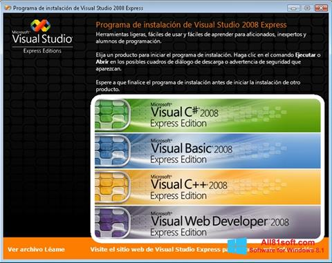 Captura de pantalla Microsoft Visual Studio para Windows 8.1