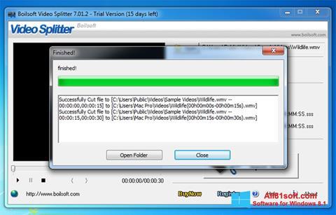Captura de pantalla Boilsoft Video Splitter para Windows 8.1