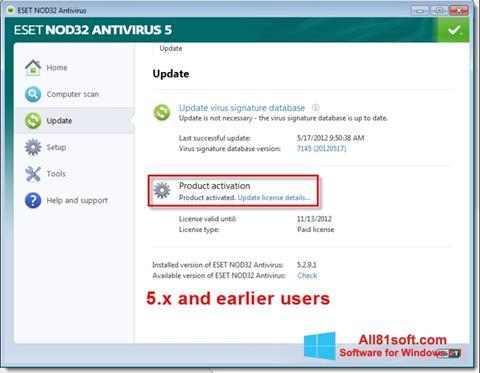 Captura de pantalla ESET NOD32 para Windows 8.1