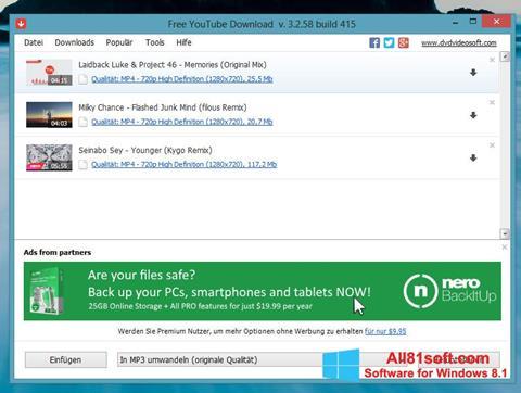 Captura de pantalla Free YouTube Download para Windows 8.1