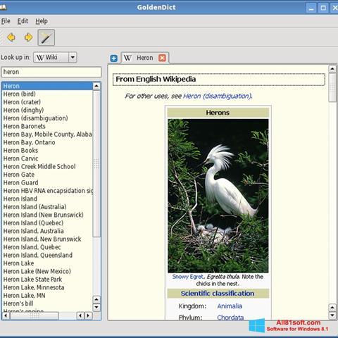 Captura de pantalla GoldenDict para Windows 8.1