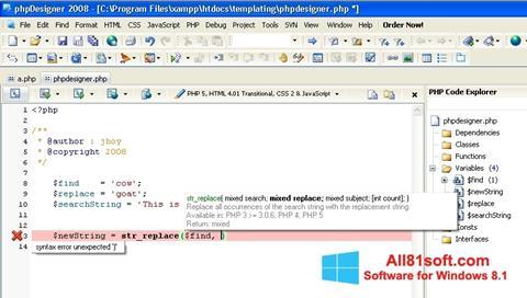 Captura de pantalla phpDesigner para Windows 8.1