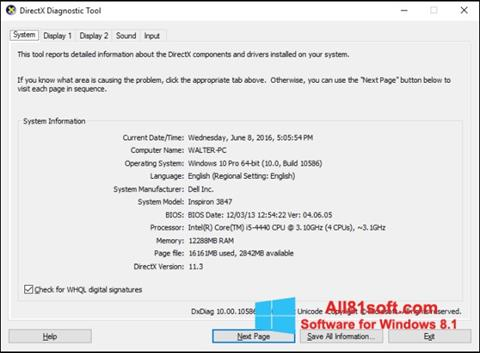Captura de pantalla DirectX para Windows 8.1