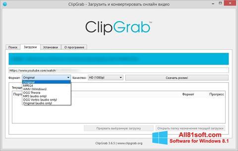 Captura de pantalla ClipGrab para Windows 8.1