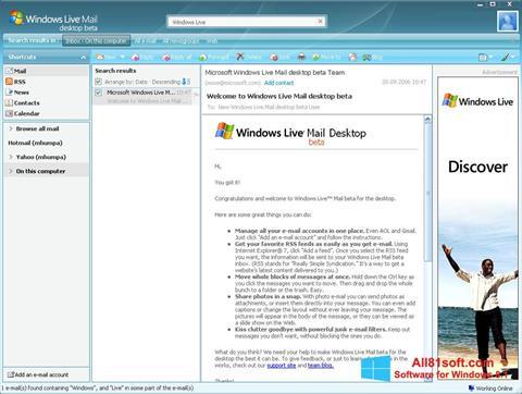 Captura de pantalla Windows Live Mail para Windows 8.1