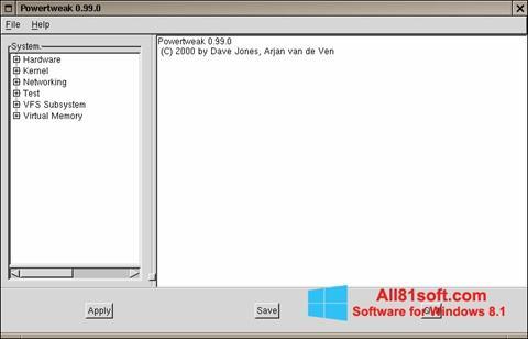 Captura de pantalla PowerTweak para Windows 8.1