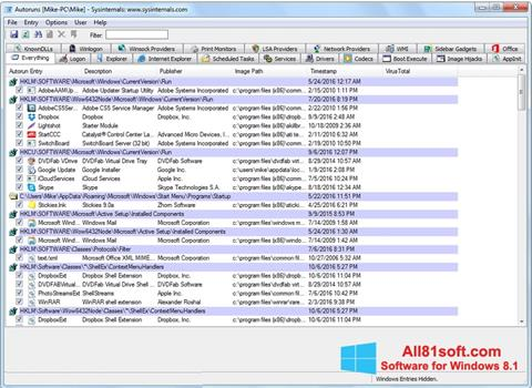 Captura de pantalla AutoRuns para Windows 8.1