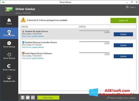 Captura de pantalla Driver Genius para Windows 8.1