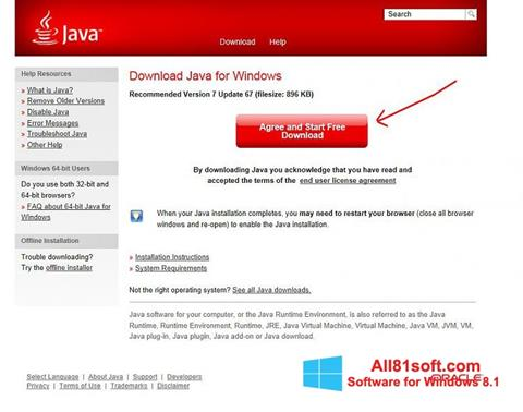 Captura de pantalla Java para Windows 8.1