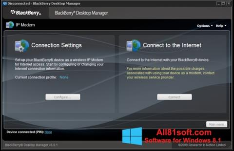 Captura de pantalla BlackBerry Desktop Manager para Windows 8.1