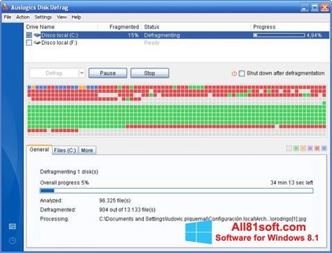 Captura de pantalla Auslogics Disk Defrag para Windows 8.1