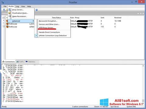 Captura de pantalla Proxifier para Windows 8.1