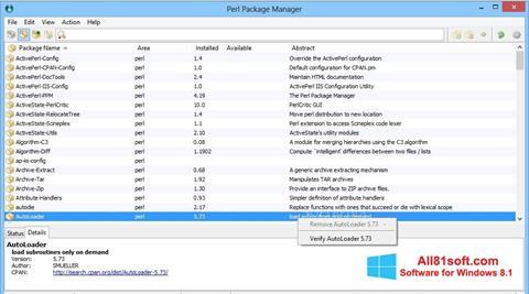 Captura de pantalla ActivePerl para Windows 8.1