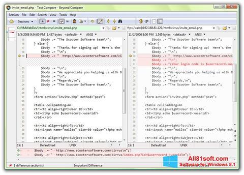 Captura de pantalla Beyond Compare para Windows 8.1