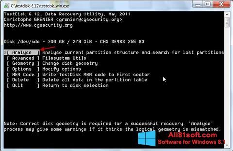 Captura de pantalla TestDisk para Windows 8.1