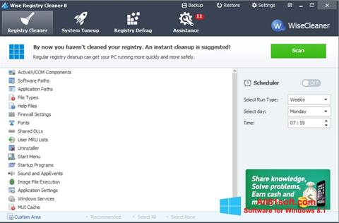 Captura de pantalla Wise Registry Cleaner para Windows 8.1