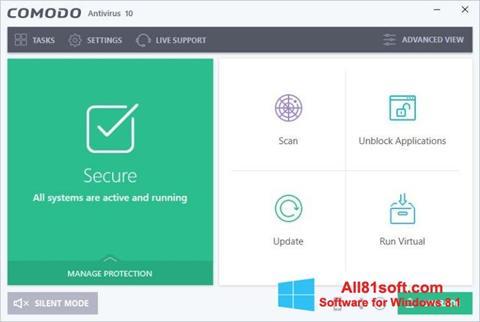 Captura de pantalla Comodo Antivirus para Windows 8.1