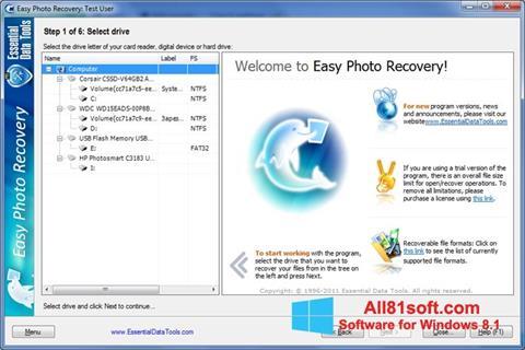 Captura de pantalla Easy Photo Recovery para Windows 8.1