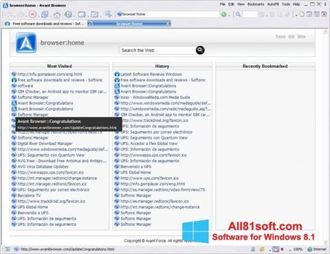 Captura de pantalla Avant Browser para Windows 8.1