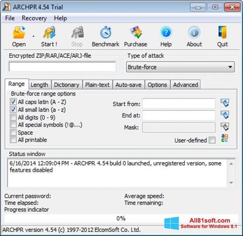 Captura de pantalla Advanced Archive Password Recovery para Windows 8.1
