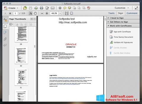 Captura de pantalla Adobe Acrobat para Windows 8.1