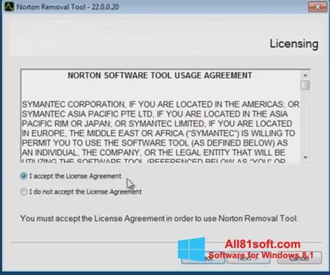 Captura de pantalla Norton Removal Tool para Windows 8.1