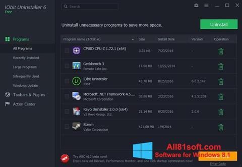 Captura de pantalla IObit Uninstaller para Windows 8.1