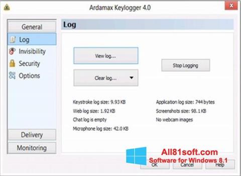 Captura de pantalla Ardamax Keylogger para Windows 8.1